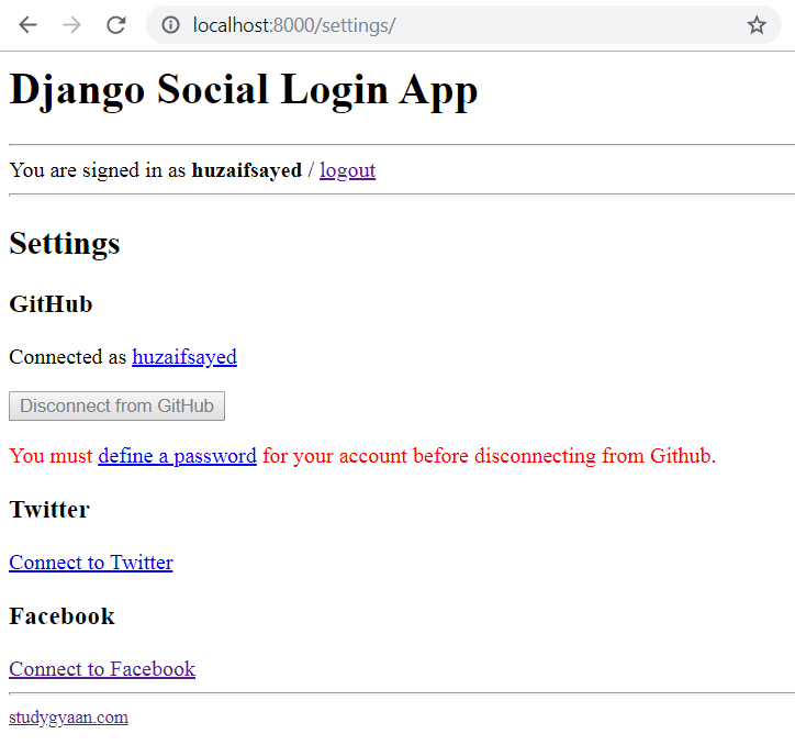Django Social Login Settings Page