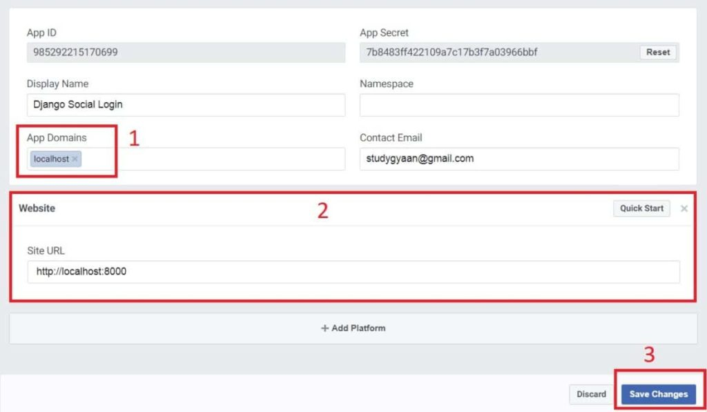 How to add Facebook login in Django Application