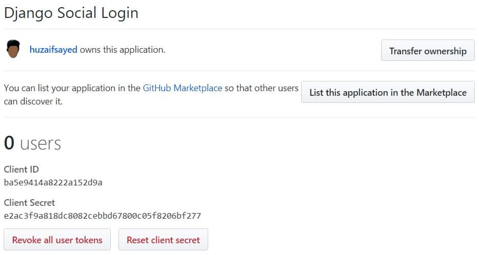 How to add GitHub login in Django Application