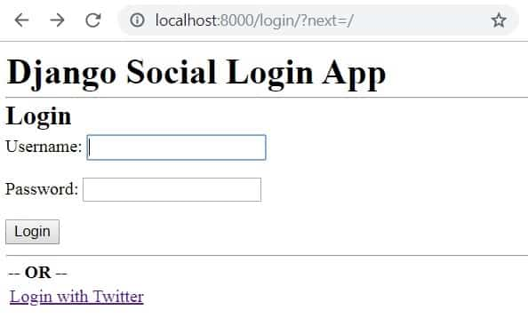 How to add Twitter login in Django Application