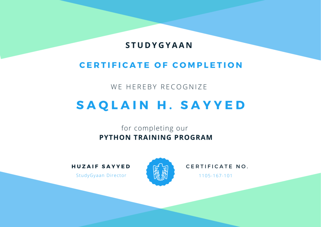 Get free Python Certificate by StudyGyaan.com